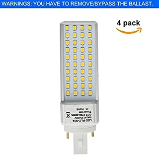 HERO-LED  G24-40S-2P-DW Rotatable PL-C Lamp G24D 2-Pin LED CFL/Compact Fluorescent Lamp, 8W, 18W Equal, Daylight White 5000K, 4-Pack (Remove/Bypass The Ballast)