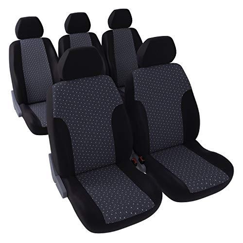 DBS - Autositzbezüge | Schonbezüge - PKW/Auto - 5 Einzelsitze - Schwarz getupft - Universal - rutschfest - Waschbar