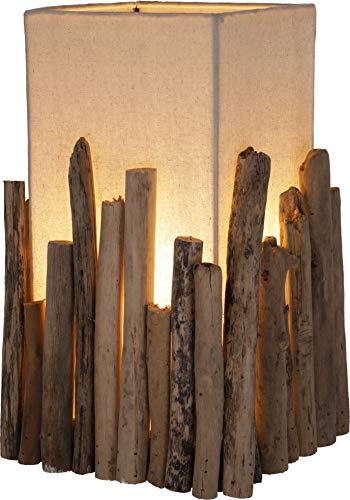 Guru-Shop Tischleuchte/Tischlampe, in Bali Handgemachtes Unikat aus Naturmaterial, Treibholz, Baumwolle - Modell Levante, 30x21x21 cm, Tischlampen aus Naturmaterialien