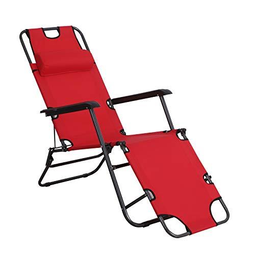 Outsunny Tumbona Reclinable y Plegable con Respaldo Ajustable Reposabrazos Almohada y Reposapiés para Jardín Balcón Carga 136 kg 135x60x89 cm Rojo