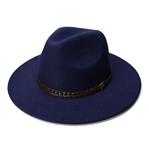 Xuguiping wol jazz hoed grote rand vilt klauche cowboy panama fedora hoed voor vrouwen zwarte muts Derby bourgondisch rood Fedora hoed met riem 56/58 cm Dark Blue