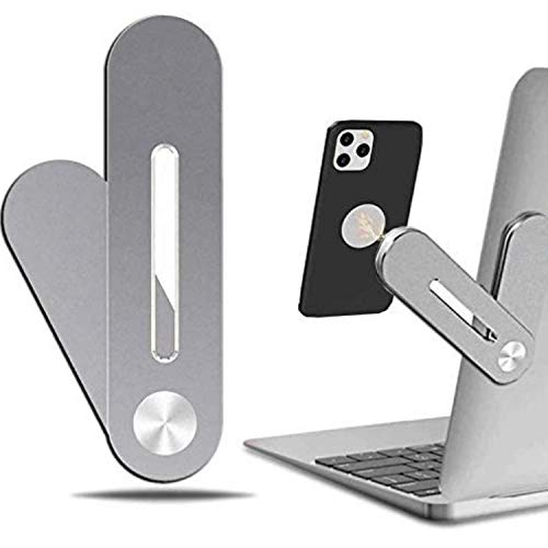Aluminum Magnetic Cell Phone Holder.Folded Cell Phone Holder. Dual Screen, Monitor Stand Compatible with All Phones, Side clip for laptop and desktop.
