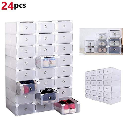 24 scatole Trasparente Plastica Shoe Scatole con Coperchio Impilabile Pieghevole Scatola di Scarpe, 31 x 20 x 11 cm