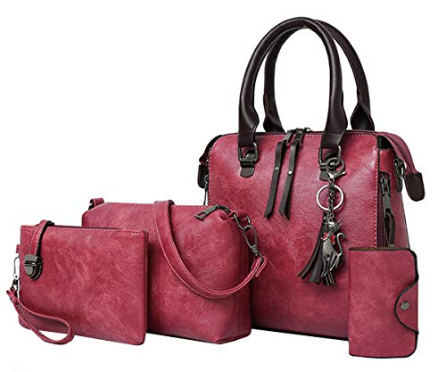 FiveloveTwo Purses and Handbags for Women Fashion 4PCS PU Top Handle Satchel Shoulder Tote Bags Clutch Card Holder Rubber Red