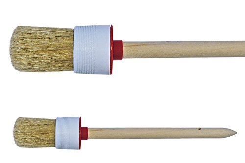 2 x LACK Ringpinsel Gr. 6 (30mm) Chinaborste hell 60% Borsten Tops Industrie Rundpinsel Maler Lasur Borstenpinsel Pinsel