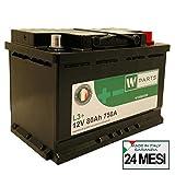 W-Parts Batteria Auto 80 Ah + 750A | Potenziata | Garanzia Italia |278x175x190| 80Ah