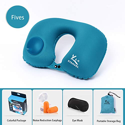 AINAAN Inflatable Pillow Neck Airplane or Car Travel Goods Small U Shape Headrest Cushion for Best Rest & Portable Bag, 2019, Blue