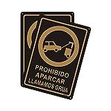 Andchi Señal de advertencia de Prohibido Aparcar LLAMAMOS GRUA (Paquete de 2, Aluminio Metal, 25 x 35 cm)
