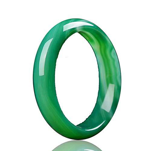 Kunze Brazalete de Jade para Mujer, joyería, jadeíta Natural, Jade Verde, Pulsera de la Suerte, Brazalete Redondo, para Regalo de Mujer y niña, 56-66 mm