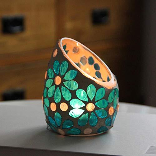 LittRur Decorar el salón dormitorio retro candelabros decorativos candelabros creativos, candelabros geométricos azul
