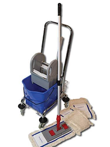 CleanSV® Wischset 50 cm Spr - Reinigungswagen 1 Eimer, Chrom Putzwagen mit Presse, Mopp Set 50 cm: aus 3 Baumwollmopp/Wischmopp 50 cm, Mopphalter 50 cm und Telekopstiehl