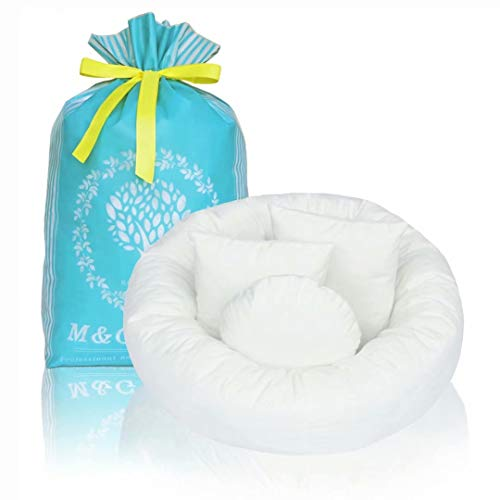 4PC Newborn Photo Props | Baby Photography Basket Pictures Infant Posing Props (1 Photo Donut and 3 Posing Pillows) Fits 0-3 Month