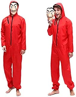 Unisex Dali Mask Red Costume for Dali Money Heist The Paper House La Casa De Papel Costume Hoodie Jumpsuit with Mask (M)