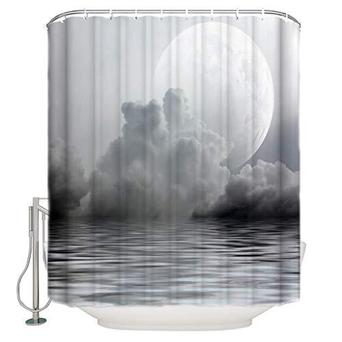 nsseoydkk Mond Vollmond Meer Meer Wolken Rauch Duschvorhang wasserdichte Gardinen Polyester Badvorhang