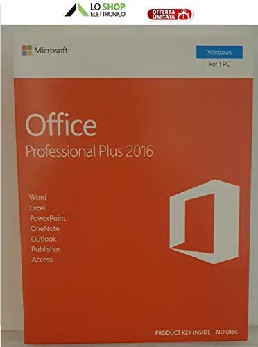 Office 2016 Professional Plus Box - Confezione Sigillata - Contiene Key-Card di Licenza - Prodotto Ufficiale - Fatturabile