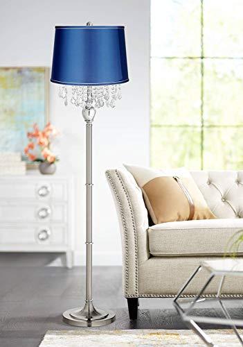 Crystals Medium Blue Satin Shade Satin Steel Floor Lamp