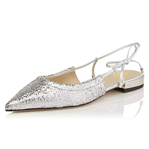 Top 10 best selling list for silver pointy toe slingback flat shoes