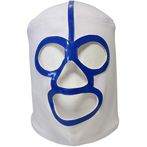 【プロレスマスク】白覆面の魔王 ザ・デストロイヤー セミプロマスク 【復刻版】 ホワイト×ブルー ルチャリブレ プロレス