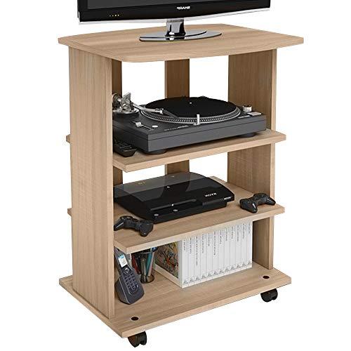 Bakaji Mueble para TV de Madera MDF con 3 estantes para Consola de Videojuegos, DVD y 4 Ruedas, Mueble con Carro para televisión de diseño Moderno, Dimensiones 60 x 45 x 80,5 cm (Roble)