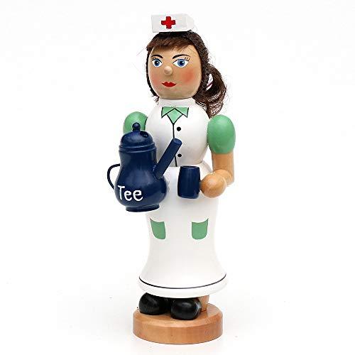 Wichtelstube-Kollektion Holz Räucherfrau Räuchermann Räuchermännchen Räucherfigur Krankenschwester mit dampfender Teekanne & Tasse 7 x 8 x 19 cm