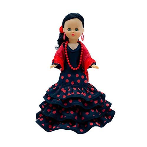 Folk Artesanía Exclusiva muñeca Sintra 40 cm Vestido Regional Flamenca Andaluza Gala con Cola edición Limitada, Fabricada en España Similar Nancy