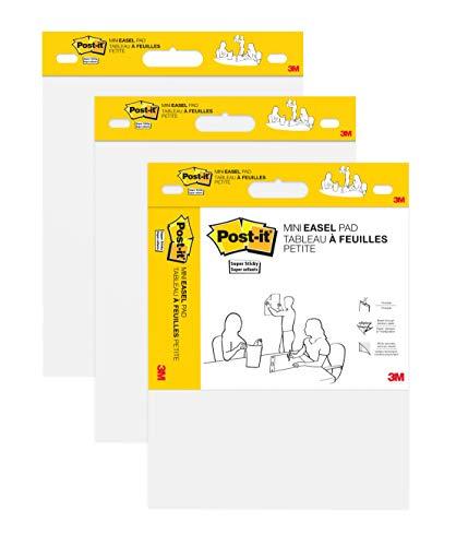 Post-it Super Sticky Mini Easel Pad, 15 x 18 Inches, 20 Sheets/Pad, 3 Pads, White Premium Self Stick Flip Chart Paper (577-3PK)