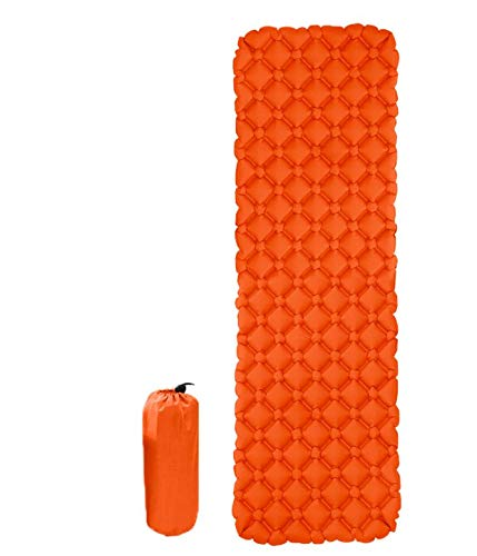 Engedi Self-Inflating Sleeping Pad Lightweight & Waterproof Double-Sided Camping Mattress for Backpacking, Camping, Hiking and Traveling (Orange)
