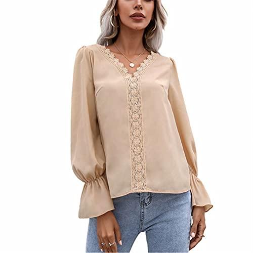 ZFQQ Autumn Women's Solid Color Temperament V-Neck Hollow lace Long-Sleeved Shirt top