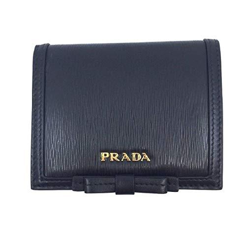 Prada Vitello Move 1MV204 Geldbörse mit Klappe und Schleife, Leder, Druckknopfverschluss -  Schwarz -  Mittel