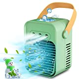 Cipamnel Portable Air Cooler, Mini Handle Evaporative Personal Rechargeable Air Conditioner, 3 Fan Speed, Desktop Cooling Fan for Room, Home, Office, Dorm Sterilizer, Humidifier & Purifier, Blue