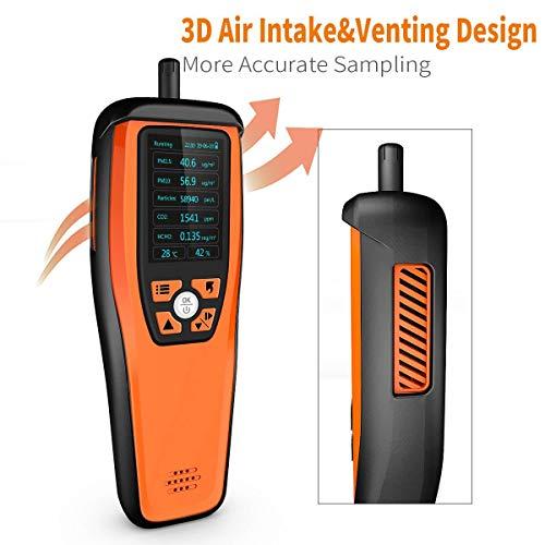 Temtop M2000C Moniteur de qualité de l'air, pour PM2.5 PM10 Particules CO2 Température et Humidité, Alarme sonore réglable, Courbe d'enregistrement, Étalonnage facile, Affichage coloré【Garantie 3 ans】