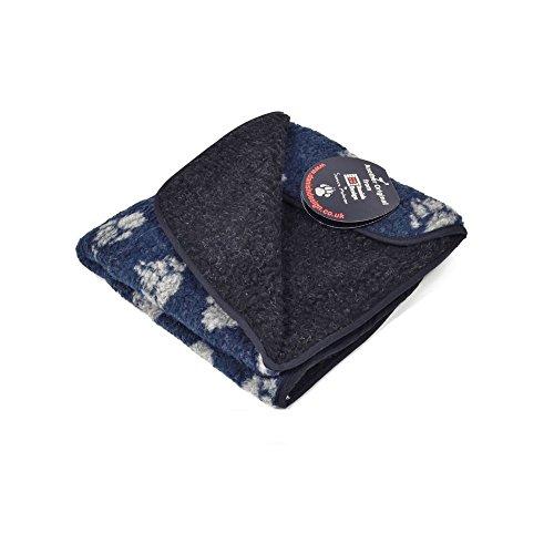 Danish Design - Coperta in pile a forma di zampa, colore blu navy, 127 x 152 cm