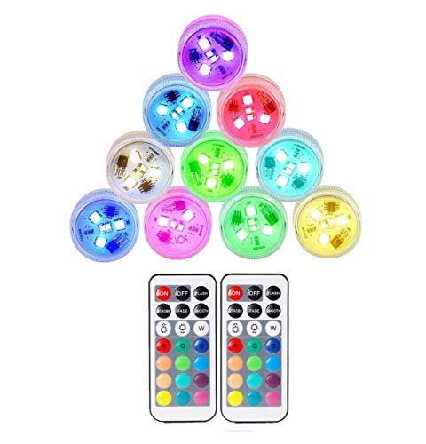 10 piezas de luces LED sumergibles, luces subacuáticas impermeables, luces de linterna...
