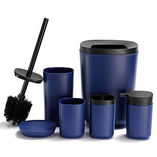 DUFU Badezimmer Zubehör Set Blau 6-teiliges mit Zahnputzbecher Seifenschale Zahnbürstenhalter Lotionspender Toilettenbürste Mülleimer