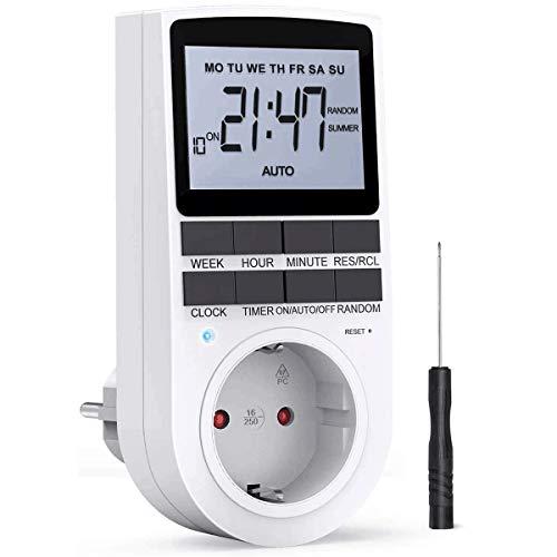 Zeitschaltuhr Steckdose, LCD Zeitschaltuhr Digitale Elektronische Steckdose mit 10 konfigurierbaren Schaltprogramme und Anti-Theft-Modus, Timer Steckdose, Timer Schalter, für Beleuchtung, Lüfter usw.