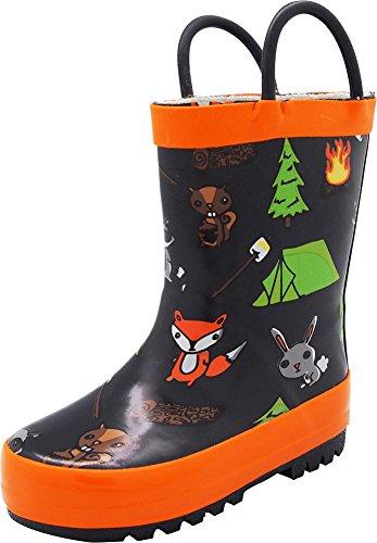 NORTY - Girls Campfire Waterproof Rainboot, Black, Orange 40675-11MUSLittleKid
