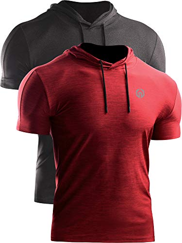 Neleus Men's Dry Fit Performance Athletic Shirt with Hoods