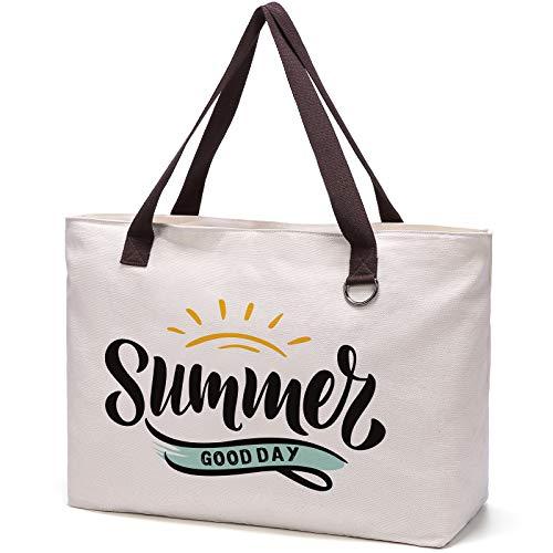 JANSBEN Große Strandtasche mit Reißverschluss Badetasche XXL Shopper Schultertasche Beach Bag fur Damen Herren (white summer, XXL)