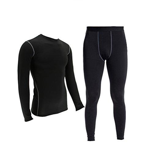 Minghe Herren Thermounterwäsche-Set Fleece gefüttert Tops Lange Unterhose Warm Unterwäsche für Skifahren Gr. Large, Schwarz