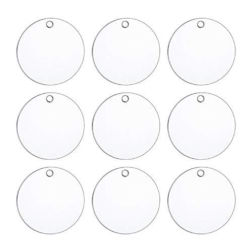 HooAMI - Targhetta rotonda personalizzabile in acciaio inox, pronta per essere incisa, colore argento, 20 mm di diametro, 10 pezzi Silver
