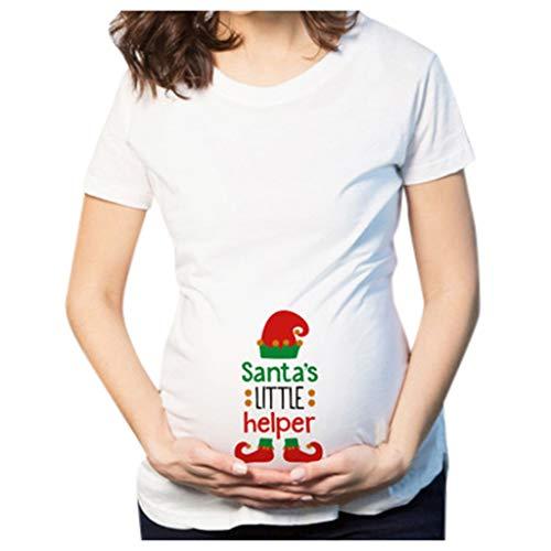 Longra Damen Festliche Umstandsmode Kurzarm T-Shirt schwanger Muttersc
