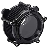 Bid4ze Motorcycle Black CNC Air Cleaner Intake System Kit With Clear Glass Black Core For Harley Dyna Super Glide Street Bob Low Rider Fat Bob Wide Glide Switchback FLD 1993-2016