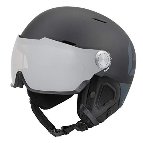 Bollé Might Visor Premium Unisex skihelm voor volwassenen, mat zwart grijs, 55-59 cm
