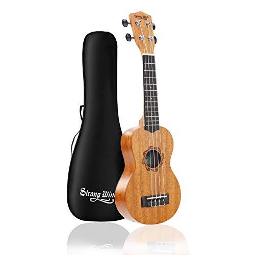 Strong Wind Soprano Ukulele for Beginners, Mahogany 21 Inch Hawaiian Starter Uke Kids Guitar Ukalalee With Gig Bag