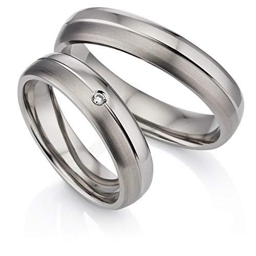 123traumringe 2x Trauringe/Eheringe Titan massiv in Juwelier-Qualität (Zirkonia/Gravur/Ringmaßband/Etui)
