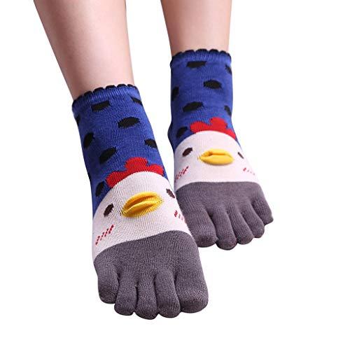 SMENGG Cazzo Carino da Donna Calze Funny Bello Five Finger Socks(Blu)
