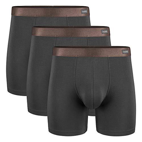 Separatec Herren Boxershorts Glattes Bambus-Rayon mit separaten Beuteln Unterwäsche Boxershorts Stilvolle Badehose, 3er-Pack