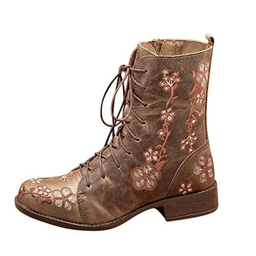Stivali Donna Boot Bikers Boots Stivaletti Stivali Donna Moda Casual Tacchi Quadrati Scarpe Lunghe alla Caviglia (37,Cachi)