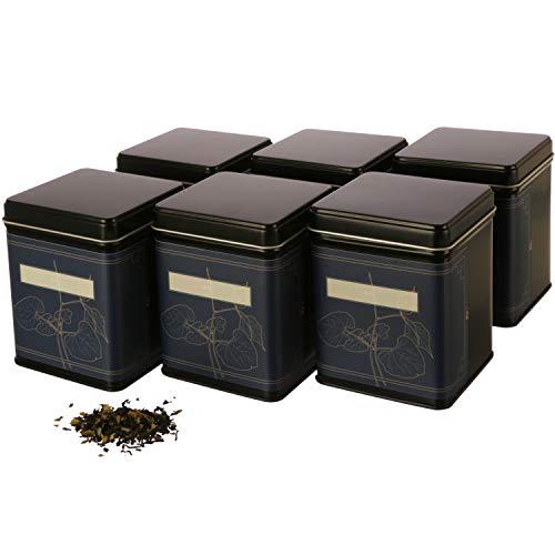 | 6 boîtes à thé carrées classiques empilables avec 6 étiquettes | Lot de boîtes à thé en métal pour 140 g de thé en vrac | 9,8 x 7,6 x 7,6 cm (H x l x P) | également idéal comme boîte à épices