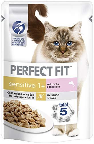 Perfect Fit Sensitive 1+ – Nassfutter für erwachsene, sensible Katzen ab 1 Jahr – Lachs in Sauce – Ohne Weizen & Soja – Unterstützt die Verdauung – 12 x 85 g